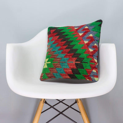 Chevron Multi Color Kilim Pillow Cover 16x16 3304 - kilimpillowstore  - 1