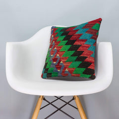 Chevron Multi Color Kilim Pillow Cover 16x16 3305 - kilimpillowstore  - 1