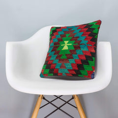 Chevron Multi Color Kilim Pillow Cover 16x16 3307 - kilimpillowstore  - 1