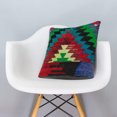 Chevron Multi Color Kilim Pillow Cover 16x16 3309 - kilimpillowstore  - 1