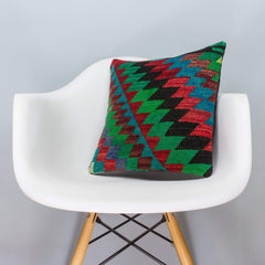 Chevron Multi Color Kilim Pillow Cover 16x16 3310 - kilimpillowstore  - 1