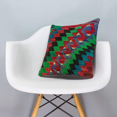 Chevron Multi Color Kilim Pillow Cover 16x16 3311 - kilimpillowstore  - 1