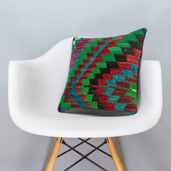 Chevron Multi Color Kilim Pillow Cover 16x16 3312 - kilimpillowstore  - 1