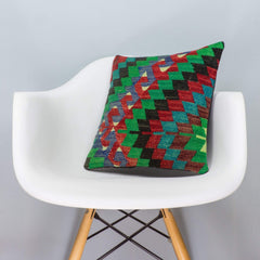 Chevron Multi Color Kilim Pillow Cover 16x16 3313 - kilimpillowstore  - 1