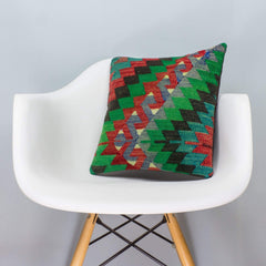 Chevron Multi Color Kilim Pillow Cover 16x16 3317 - kilimpillowstore  - 1