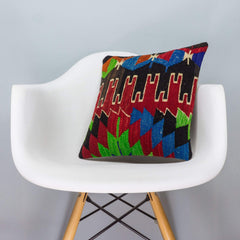 Chevron Multi Color Kilim Pillow Cover 16x16 3326 - kilimpillowstore  - 1