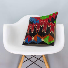 Chevron Multi Color Kilim Pillow Cover 16x16 3328 - kilimpillowstore  - 1