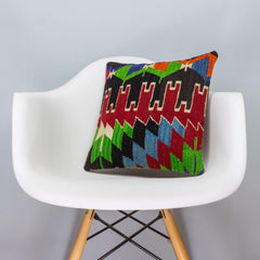 Chevron Multi Color Kilim Pillow Cover 16x16 3332 - kilimpillowstore  - 1