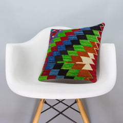 Chevron Multi Color Kilim Pillow Cover 16x16 3345 - kilimpillowstore  - 1