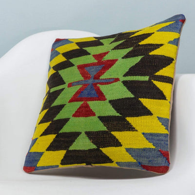 Chevron Multi Color Kilim Pillow Cover 16x16 3698 - kilimpillowstore  - 2