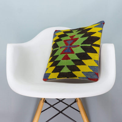 Chevron Multi Color Kilim Pillow Cover 16x16 3698 - kilimpillowstore  - 1