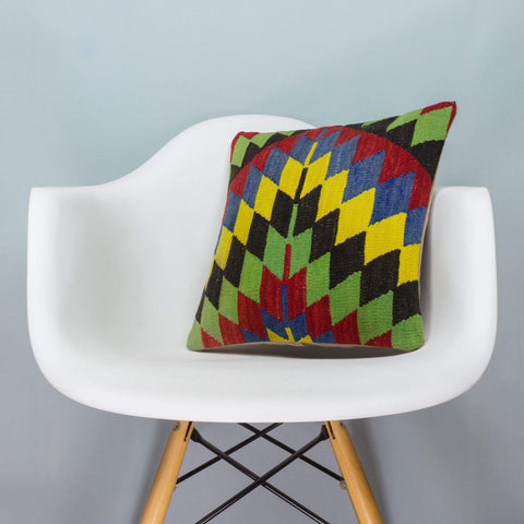 Chevron Multi Color Kilim Pillow Cover 16x16 3700 - kilimpillowstore  - 1