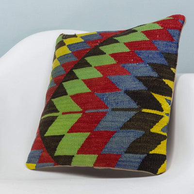 Chevron Multi Color Kilim Pillow Cover 16x16 3702 - kilimpillowstore  - 2