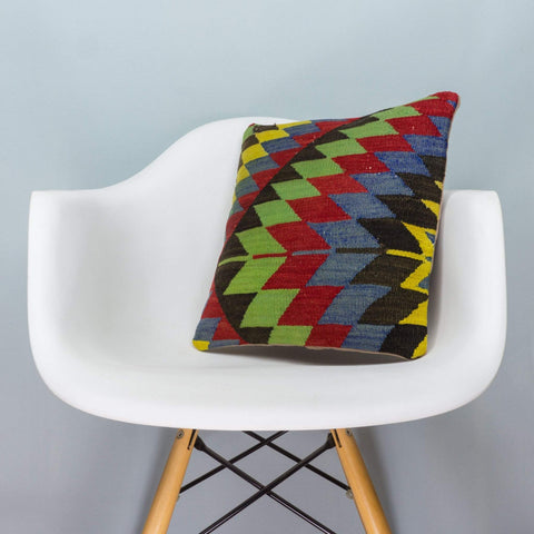 Chevron Multi Color Kilim Pillow Cover 16x16 3702 - kilimpillowstore  - 1