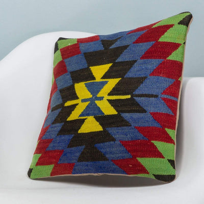 Chevron Multi Color Kilim Pillow Cover 16x16 3709 - kilimpillowstore  - 2