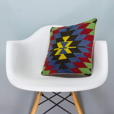 Chevron Multi Color Kilim Pillow Cover 16x16 3709 - kilimpillowstore  - 1