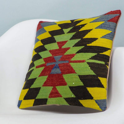 Chevron Multi Color Kilim Pillow Cover 16x16 3710 - kilimpillowstore  - 2