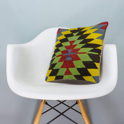 Chevron Multi Color Kilim Pillow Cover 16x16 3710 - kilimpillowstore  - 1