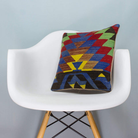 Chevron Multi Color Kilim Pillow Cover 16x16 3714 - kilimpillowstore  - 1