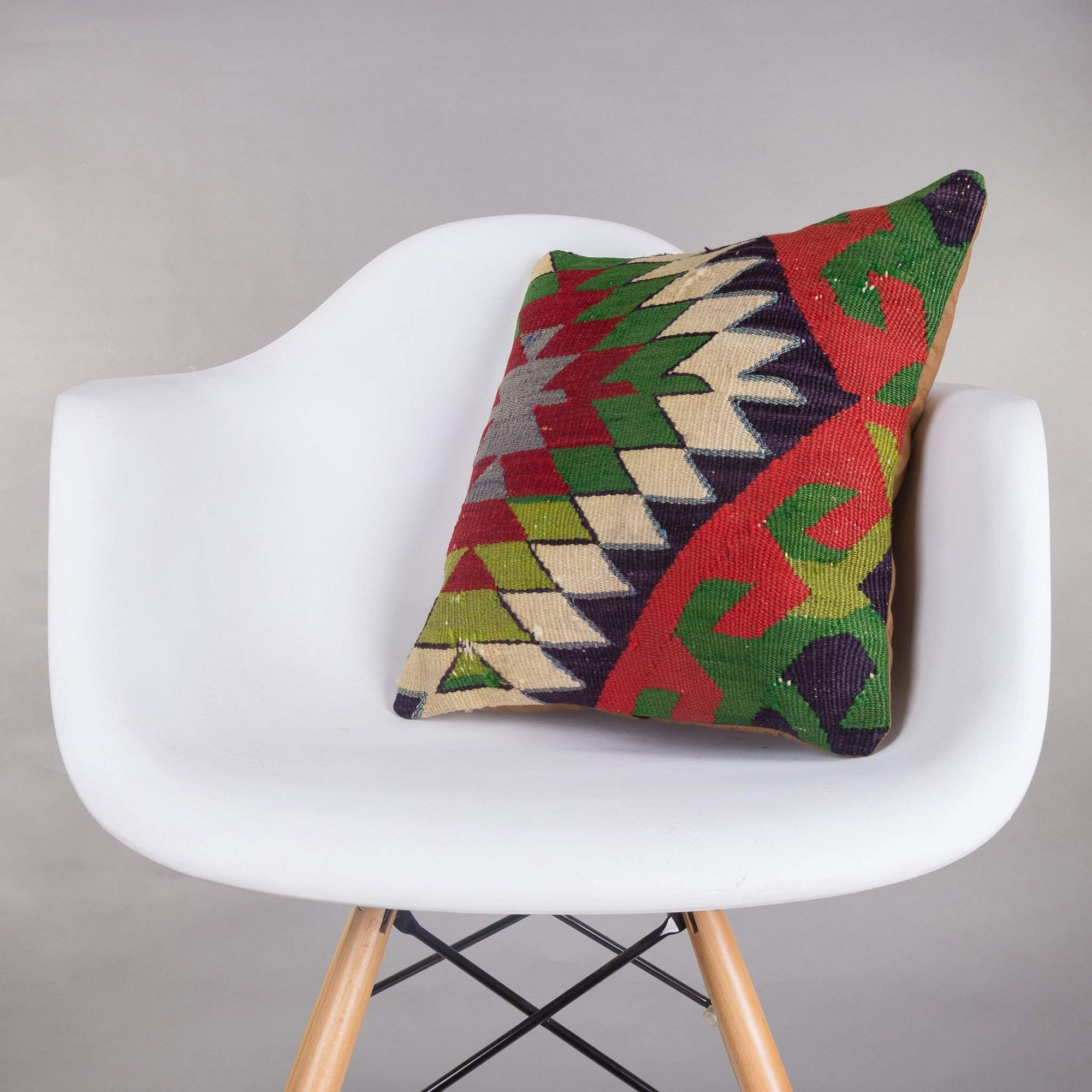 Chevron Multi Color Kilim Pillow Cover 16x16 5063 - kilimpillowstore  - 1