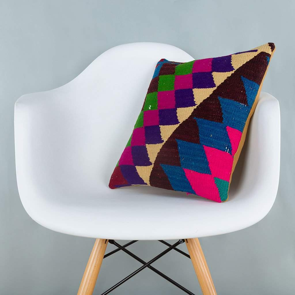 Chevron Multiple Color Kilim Pillow Cover 16x16 6635