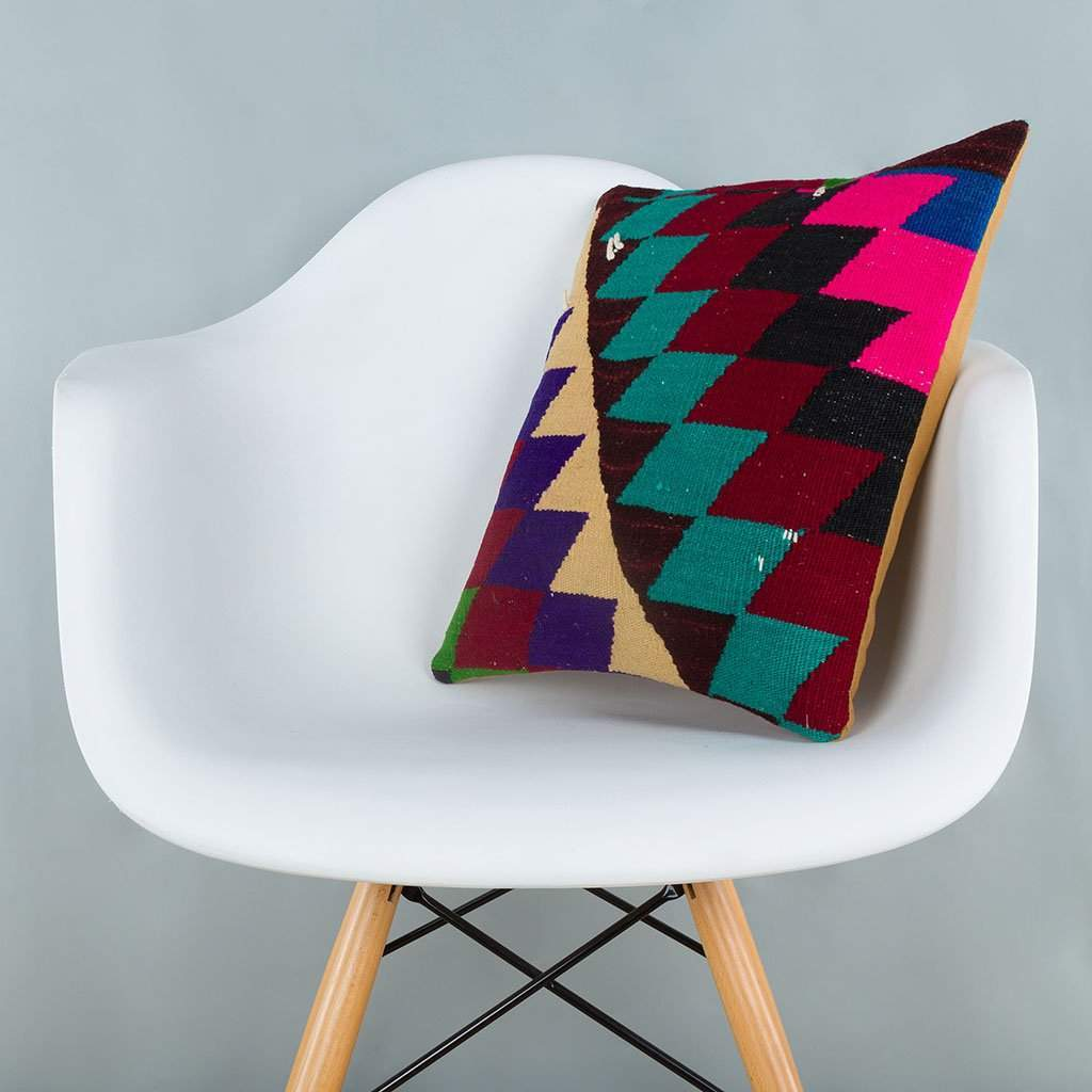Chevron Multiple Color Kilim Pillow Cover 16x16 6643