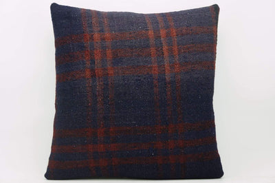 CLEARANCE 16x16  Hand Woven wool green black plaid  Kilim Pillow  cushion 1079_A Wool pillow cover,navy blue,claret red - kilimpillowstore  - 1