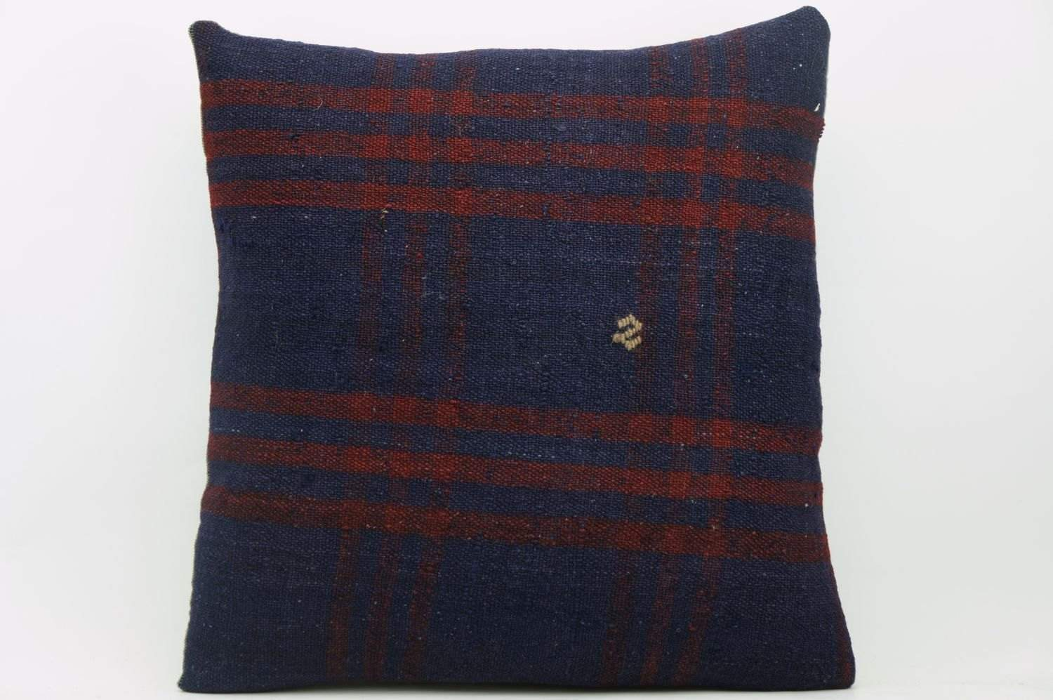 CLEARANCE 16x16  Hand Woven wool green black plaid  Kilim Pillow  cushion 1082_A Wool pillow cover,navy blue,claret red - kilimpillowstore  - 1