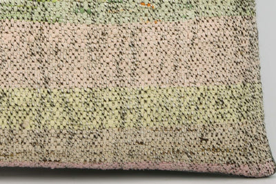 CLEARANCE 16x16  Hand Woven wool light green pinkish striped  Kilim Pillow  cushion 1048_A Wool cushion - kilimpillowstore  - 4