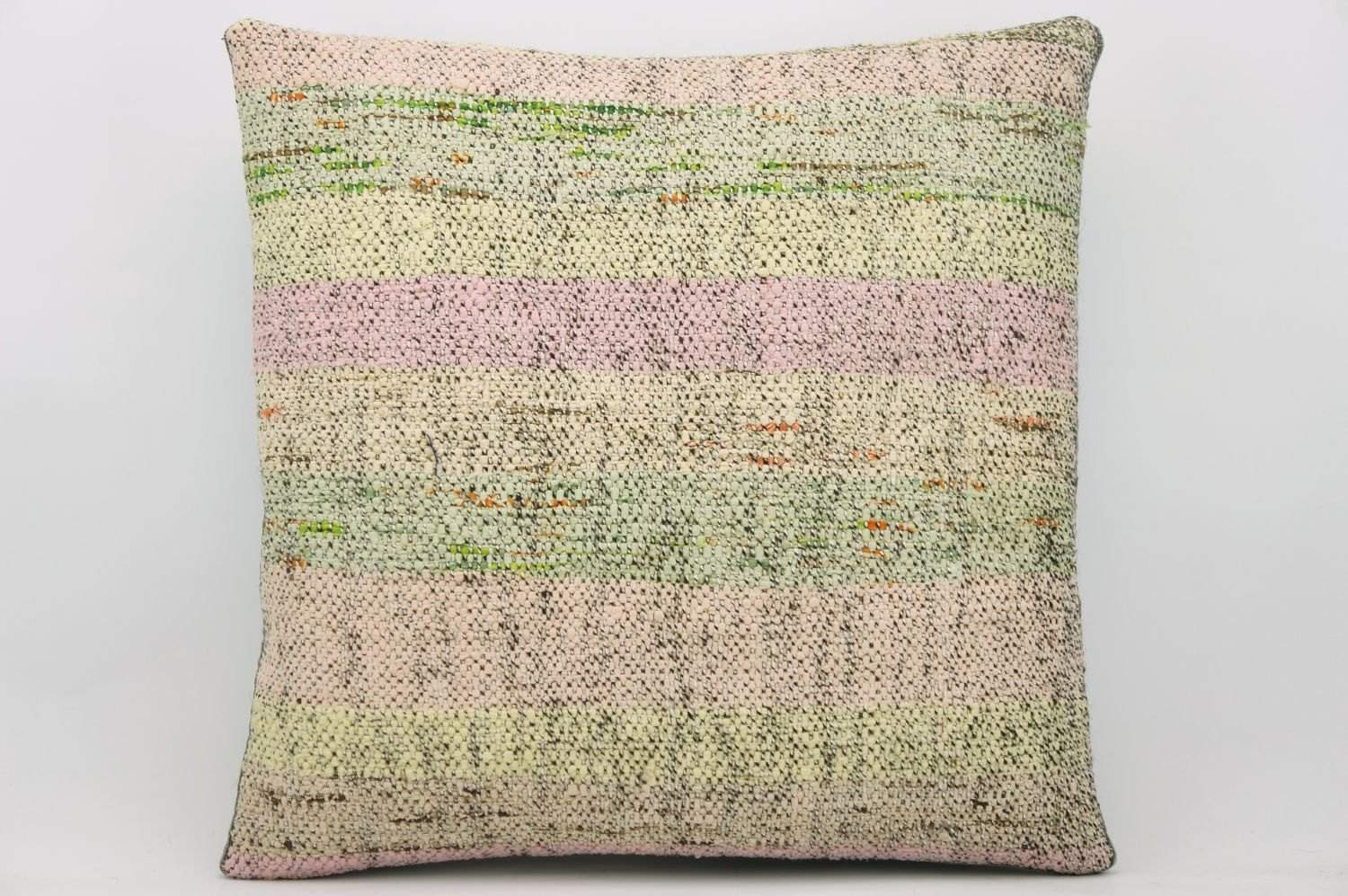 CLEARANCE 16x16  Hand Woven wool light green pinkish striped  Kilim Pillow  cushion 1048_A Wool cushion - kilimpillowstore  - 1