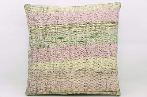 CLEARANCE 16x16  Hand Woven wool multi colour splashy pink green striped  Kilim Pillow  cushion 1157_A - kilimpillowstore  - 1