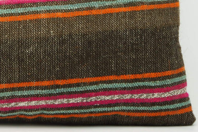 CLEARANCE 16x16  Hand Woven wool striped  Kilim Pillow  cushion 1111_A Wool pillow ,striped,pink,brown,orange - kilimpillowstore  - 2