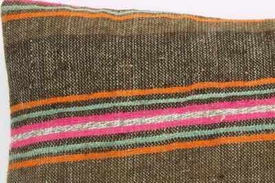 CLEARANCE 16x16  Hand Woven wool striped  Kilim Pillow  cushion 1111_A Wool pillow ,striped,pink,brown,orange - kilimpillowstore  - 4