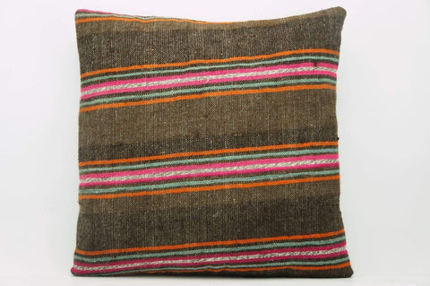 CLEARANCE 16x16  Hand Woven wool striped  Kilim Pillow  cushion 1111_A Wool pillow ,striped,pink,brown,orange - kilimpillowstore  - 1