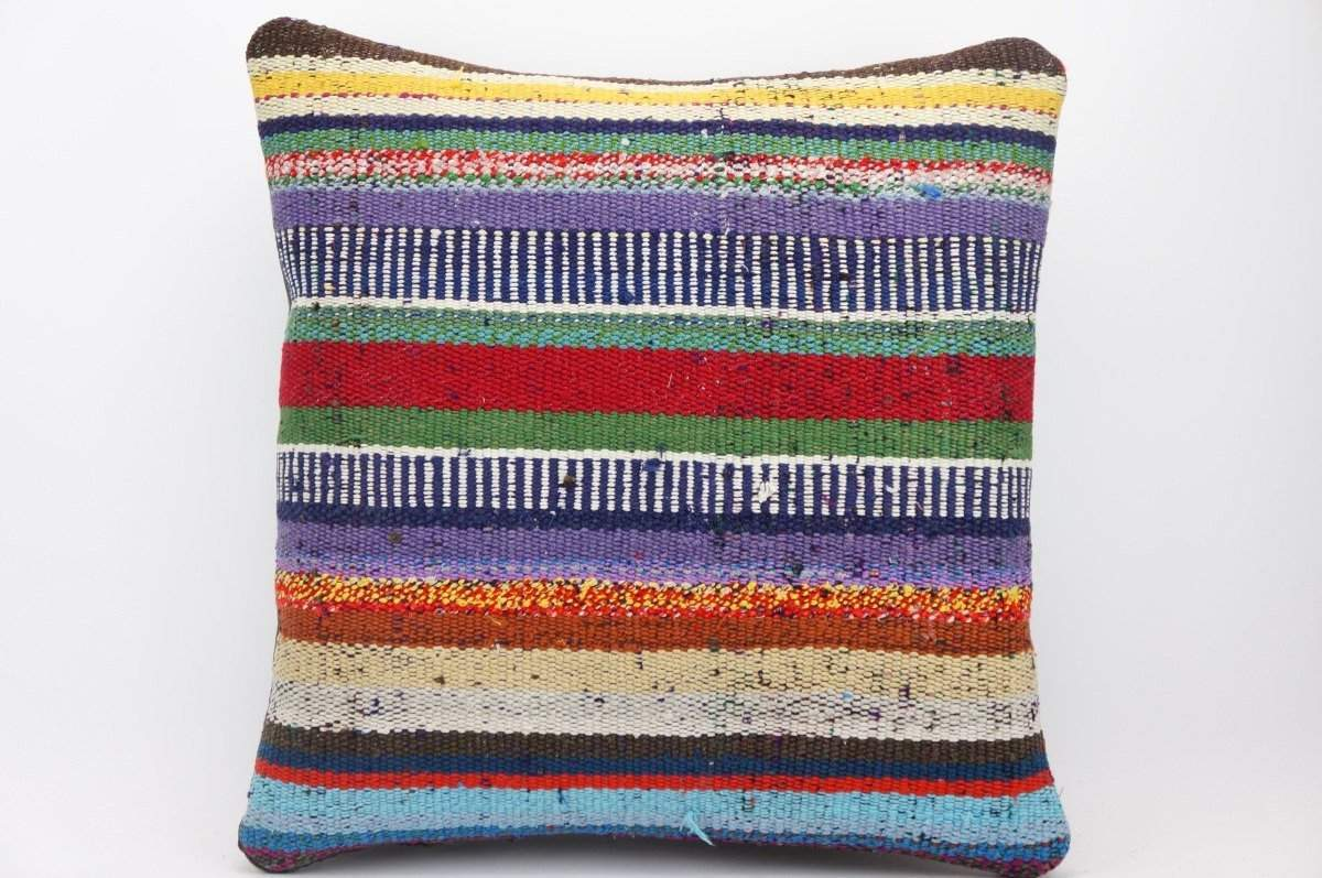 CLEARANCE 16x16 Hand Woven wool tribal ethnic striped  Kilim Pillow cushion 1326 - kilimpillowstore  - 1