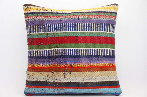 CLEARANCE 16x16 Hand Woven wool tribal ethnic striped  Kilim Pillow cushion 1332_A - kilimpillowstore  - 1