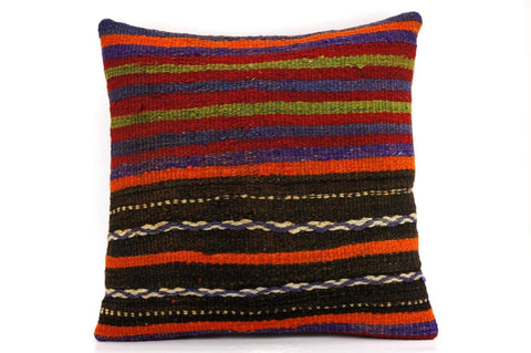 CLEARANCE 16x16 Vintage Hand Woven Kilim Pillow  443, blue, red,  orange, black, green , purple striped, embroidery faded - kilimpillowstore  - 1