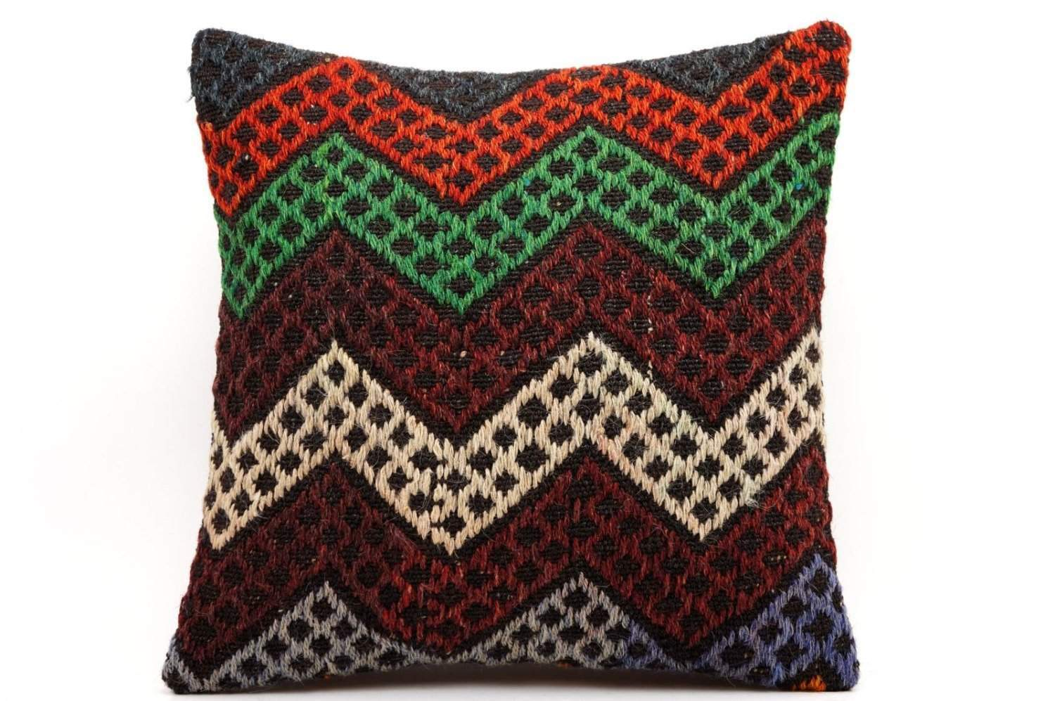 16x16 Vintage Hand Woven Kilim Pillow 480,green,blue,beige,black,gray,orange,chevron