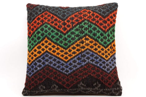 CLEARANCE 16x16 Vintage Hand Woven Kilim Pillow  481,green,blue,black,gray,dark blueorange,chevron - kilimpillowstore  - 1