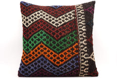 CLEARANCE 16x16 Vintage Hand Woven Kilim Pillow  482,green,blue,black,orange,claret red,chevron - kilimpillowstore  - 1