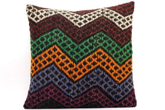 CLEARANCE 16x16 Vintage Hand Woven Kilim Pillow  485,white,green,blue,black,orange,claret red,chevron - kilimpillowstore  - 1