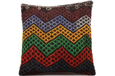 CLEARANCE 16x16 Vintage Hand Woven Kilim Pillow  488,green,blue,yellow,dark blue,black,red,claret red,chevron - kilimpillowstore  - 1
