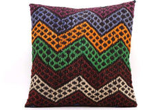 CLEARANCE 16x16 Vintage Hand Woven Kilim Pillow  492,white,amber,green,blue,black,red,claret red,purple,chevron - kilimpillowstore  - 1