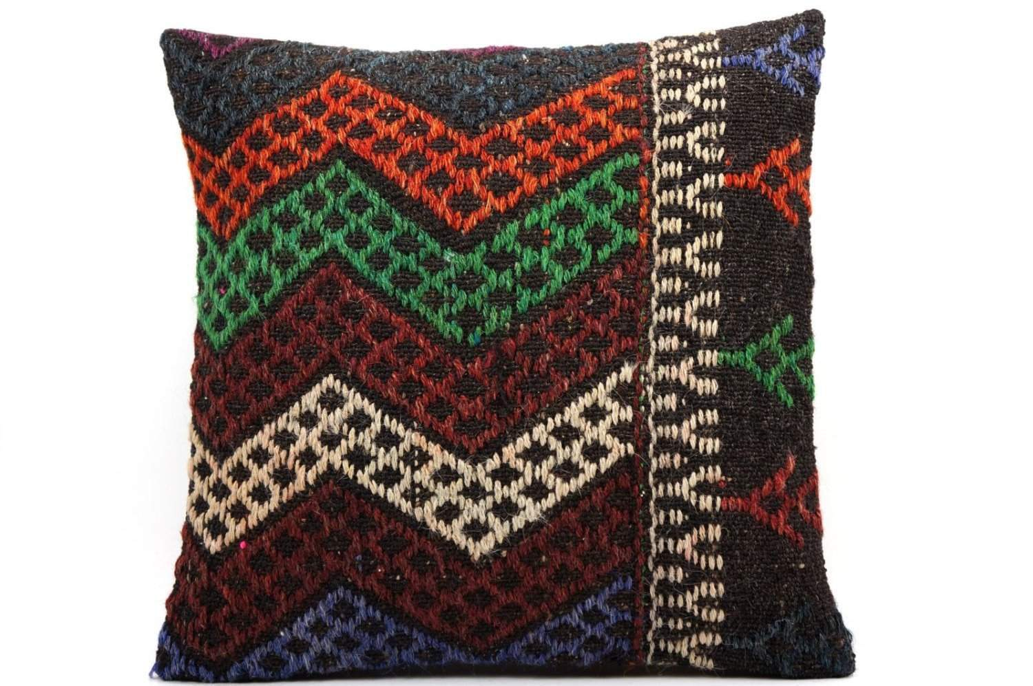 16x16 Vintage Hand Woven Kilim Pillow 493,white,green,blue,black,red,claret red,chevron