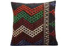 CLEARANCE 16x16 Vintage Hand Woven Kilim Pillow  493,white,green,blue,black,red,claret red,chevron - kilimpillowstore  - 1