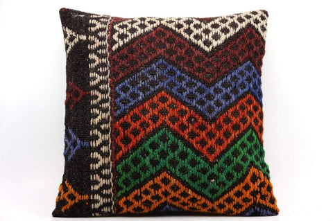 CLEARANCE 16x16 Vintage Hand Woven Kilim Pillow  494,white,orange,green,blue,black,red,claret red,chevron - kilimpillowstore  - 1