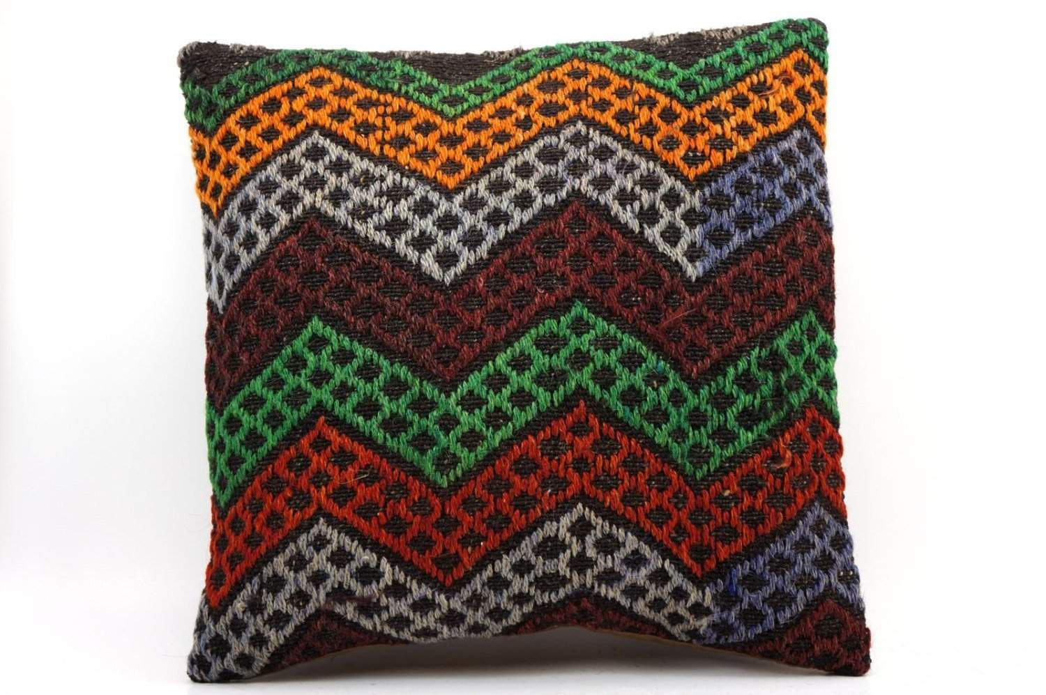16x16 Vintage Hand Woven Kilim Pillow 496,orange,green,blue,black,red,claret red,chevron