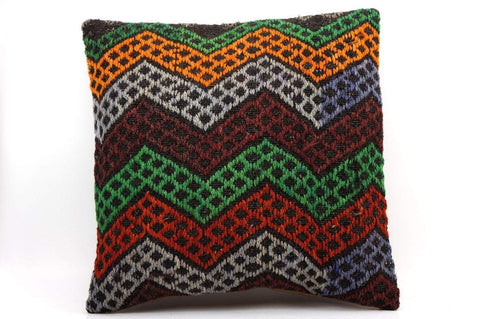 CLEARANCE 16x16 Vintage Hand Woven Kilim Pillow  496,orange,green,blue,black,red,claret red,chevron - kilimpillowstore  - 1