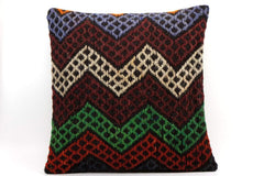 CLEARANCE 16x16 Vintage Hand Woven Kilim Pillow  498,white,green,blue,black,red,claret red,chevron - kilimpillowstore  - 1