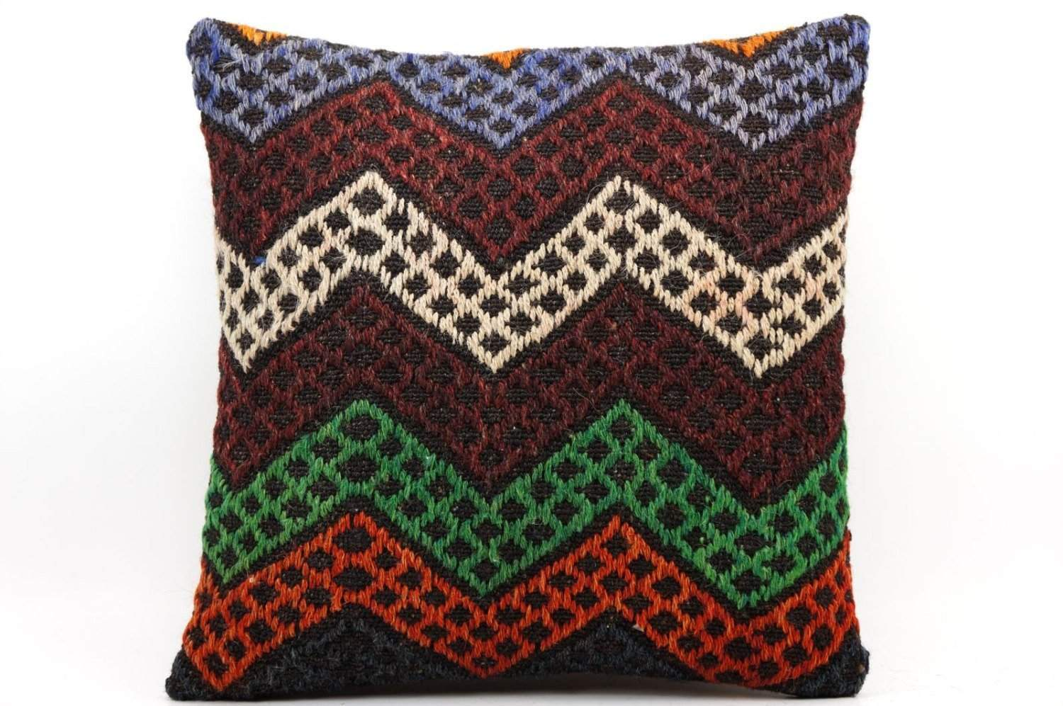 16x16 Vintage Hand Woven Kilim Pillow 500,white,green,blue,black,red,claret red,chevron